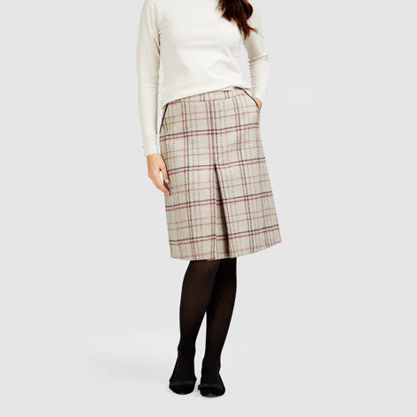 British Wool A-Line Pleat Front Check Skirt