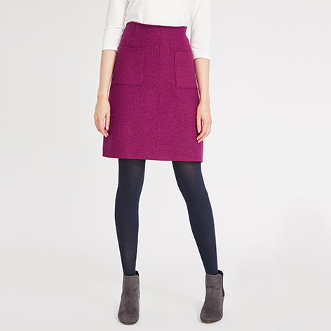 A-Line Boiled Wool Skirt