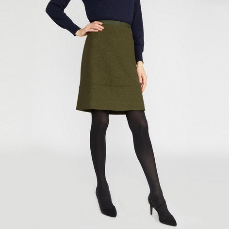 Olive Boiled Wool A-Line Skirt