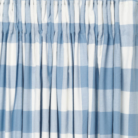 Oxford Check Blue Ready Made Blackout Curtains