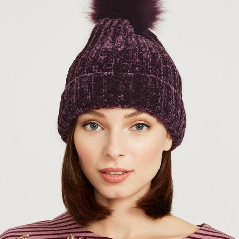 Chenille Pom Pom Knitted Hat