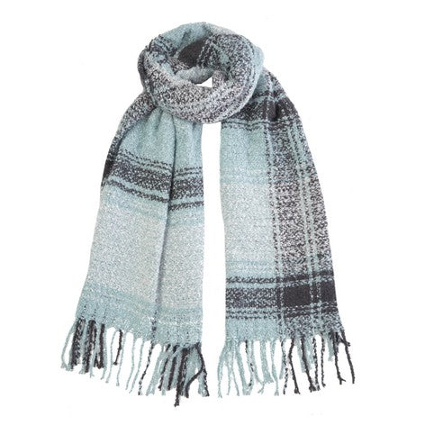 Spearmint Boucle Check Scarf