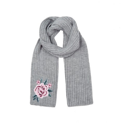 Camelia Applique Rib Knit Scarf