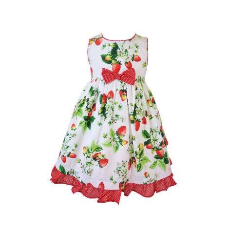 b6fb683add1 Strawberry Print Toddler Dress with Bow at Waist