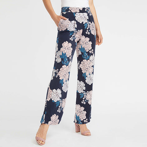 Scattered Camellia Wide Leg Trousers