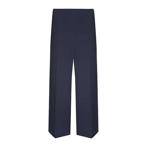 Cropped Navy Wide Leg Trousers