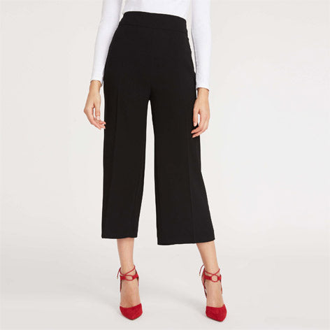 Cropped Black Wide Leg Trousers