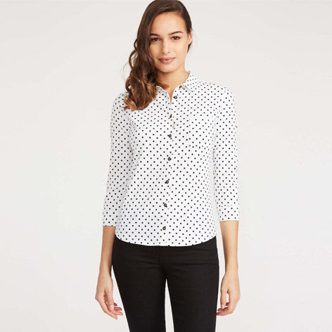 3/4 Sleeve Dot Print Button Jersey Shirt