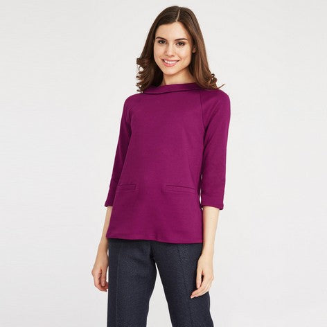 3/4 Sleeve Ponte Bardot Top