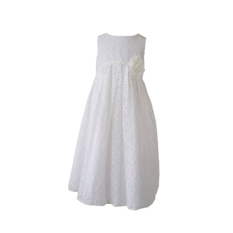 White Lace Toddler Dress with Flower at Waist