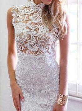 CASPAR Lace Dress White