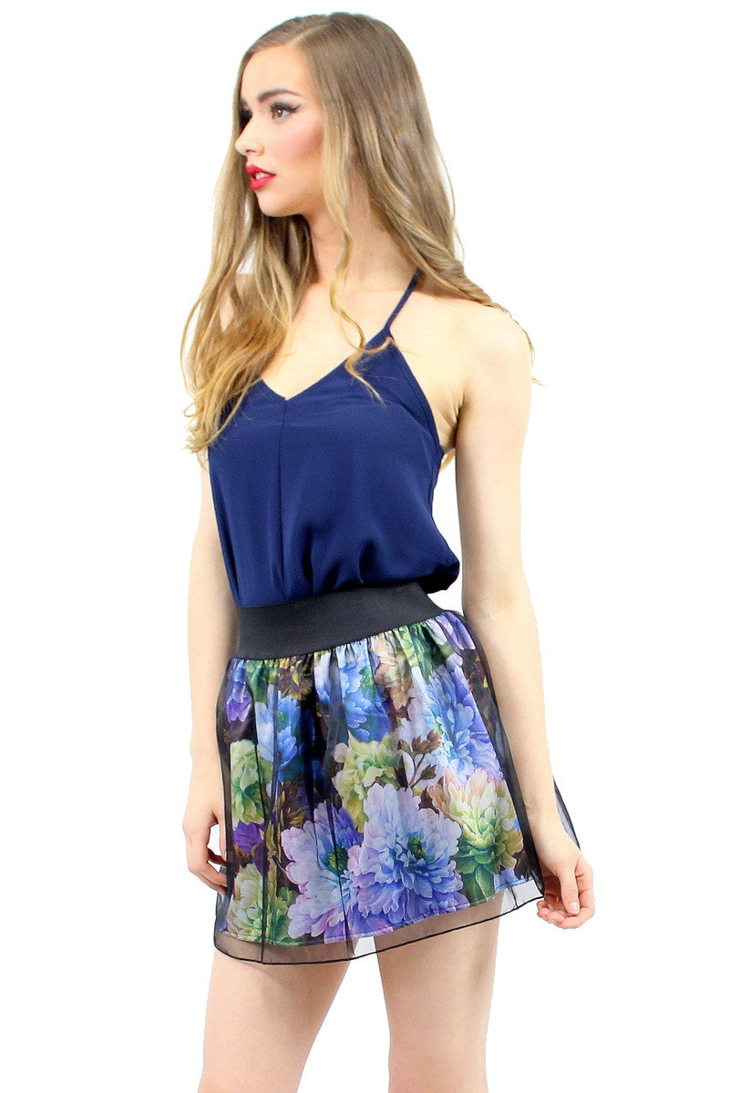 HEY ROSIE Floral Organza Skirt Blue