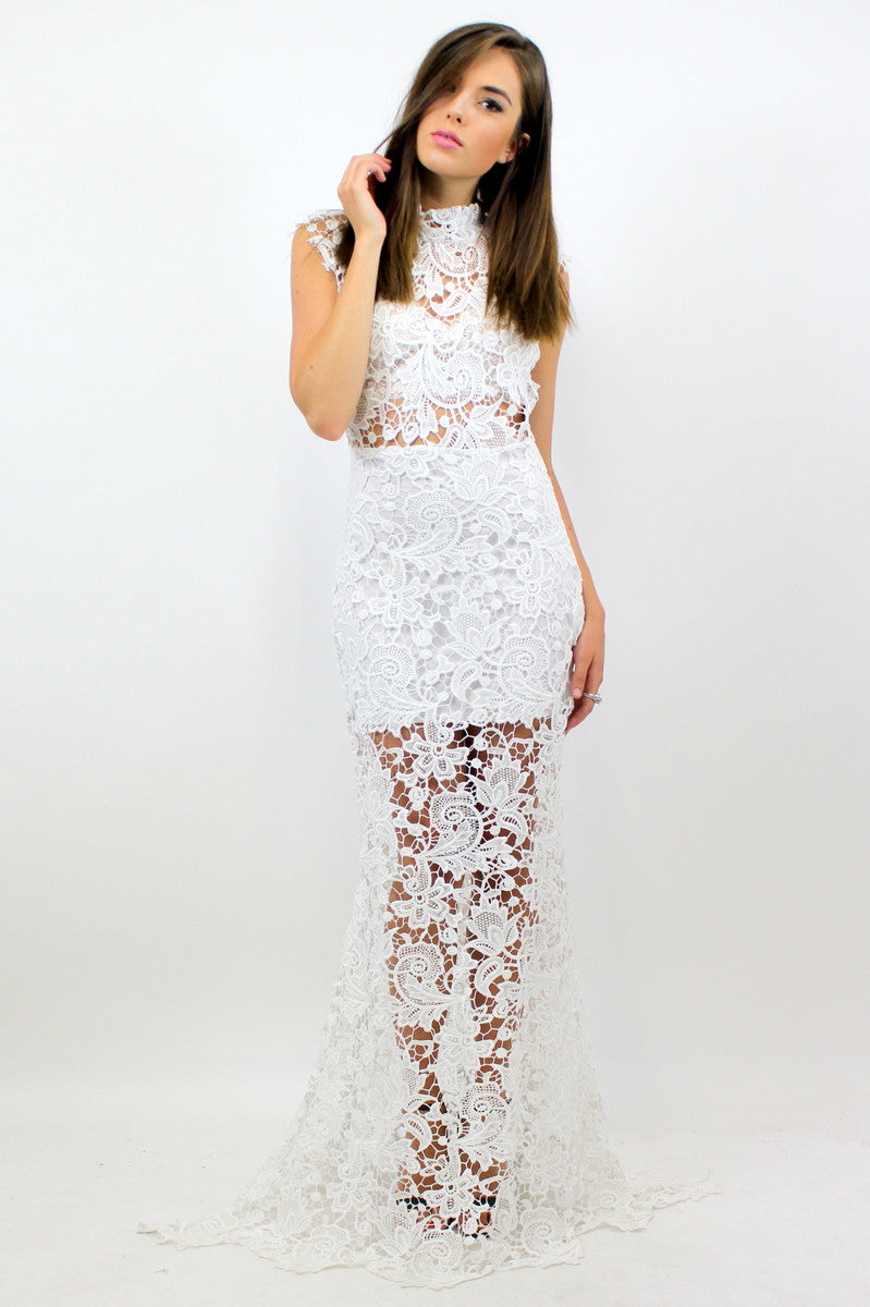 CARA Lace Maxi Dress White