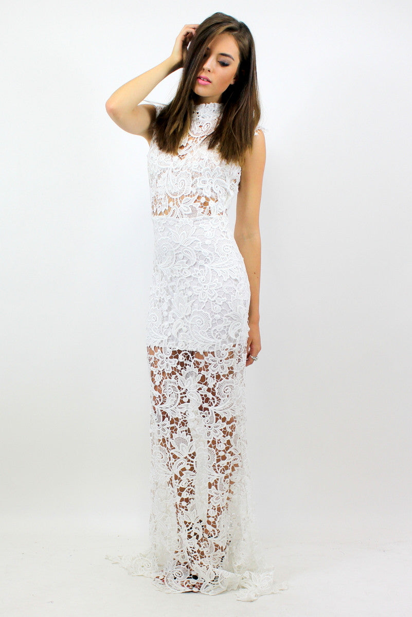 5298bec805 CARA Lace Maxi Dress White ...