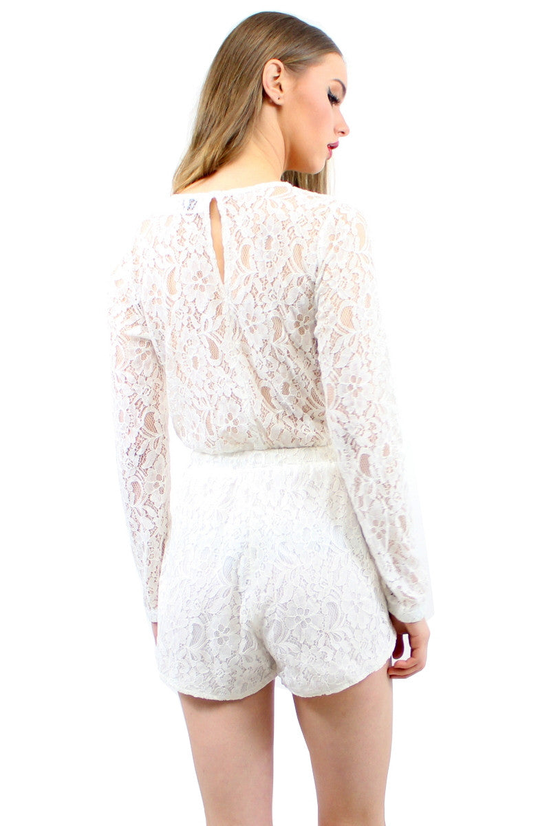 ELIE Lace Playsuit White
