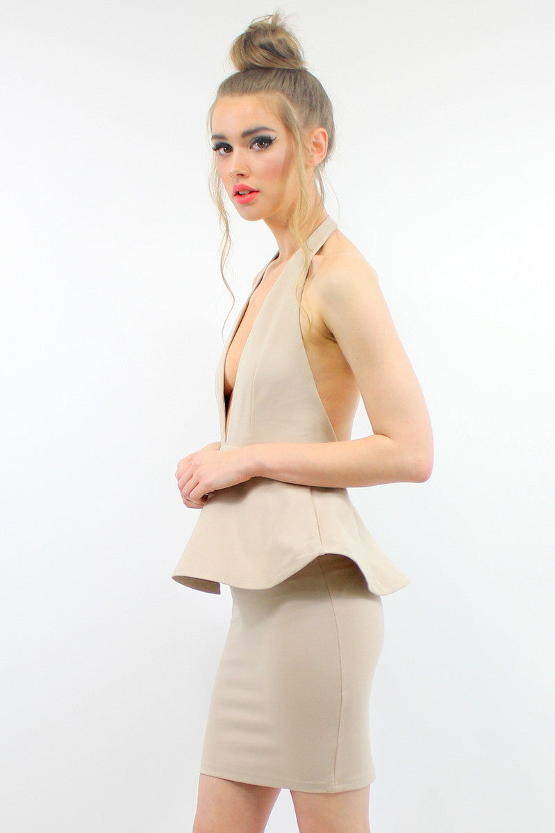HEIDI Peplum Dress Nude