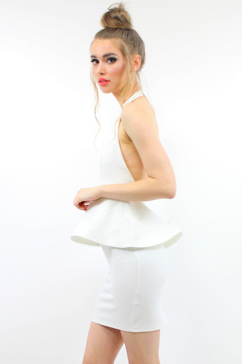 HEIDI Peplum Dress White