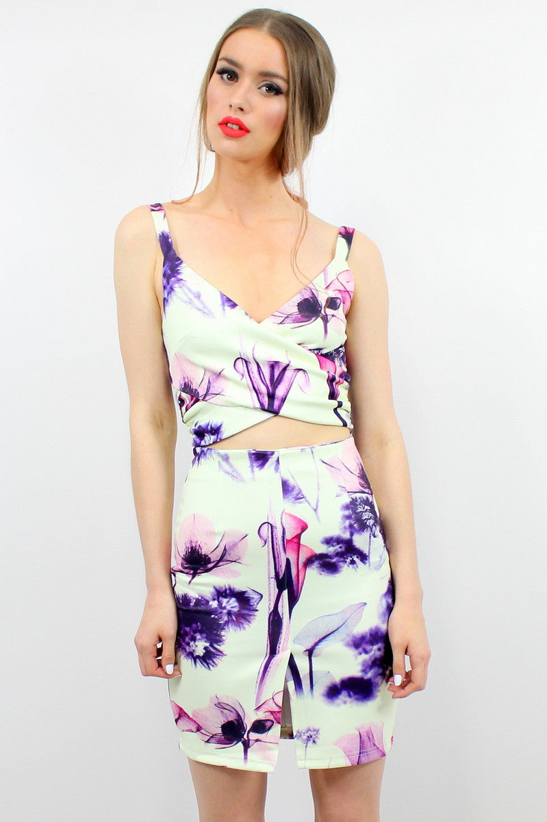 FLORAL DALE Cut Out Dress