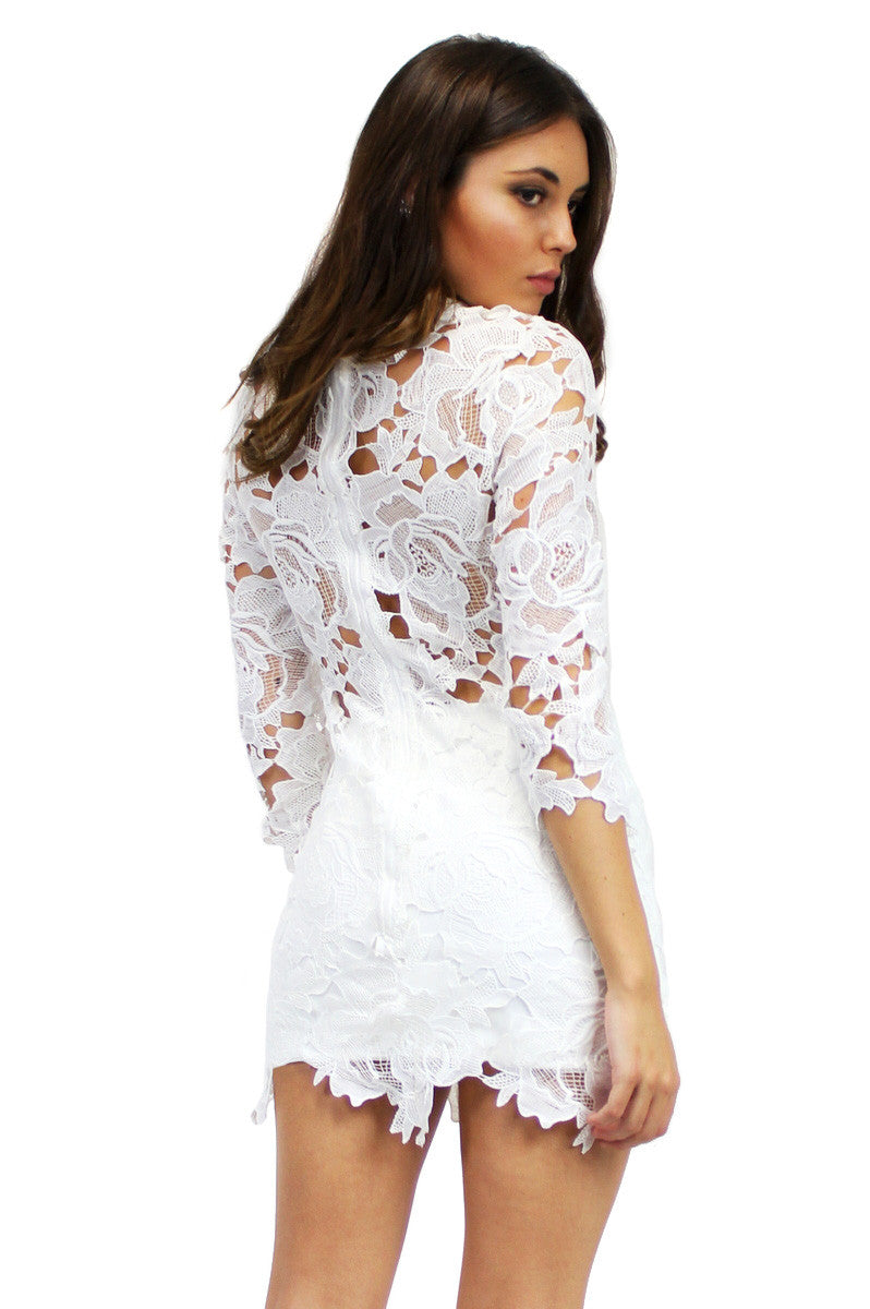 COCO Lace Shift Dress White