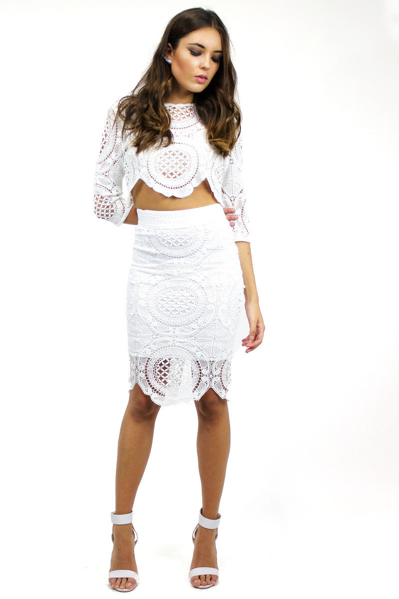 KENDALL Lace Top & Skirt Set White