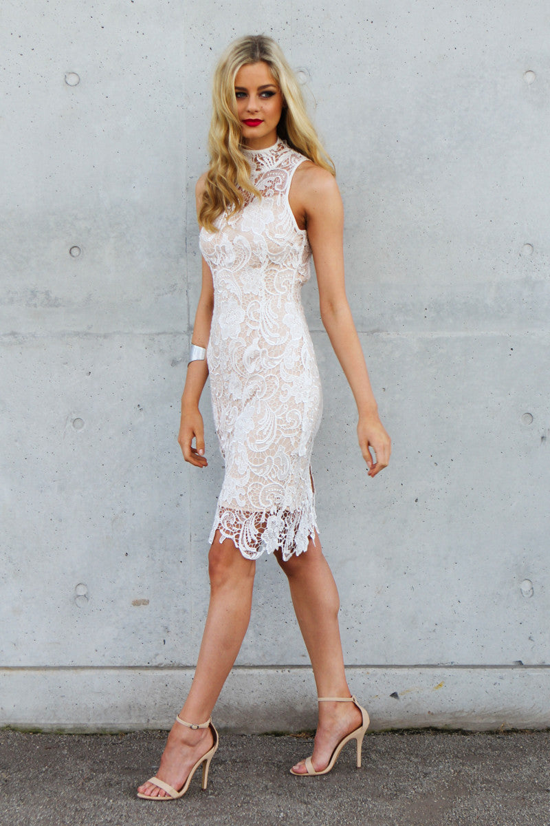 PHOENIX High Neck Lace Dress