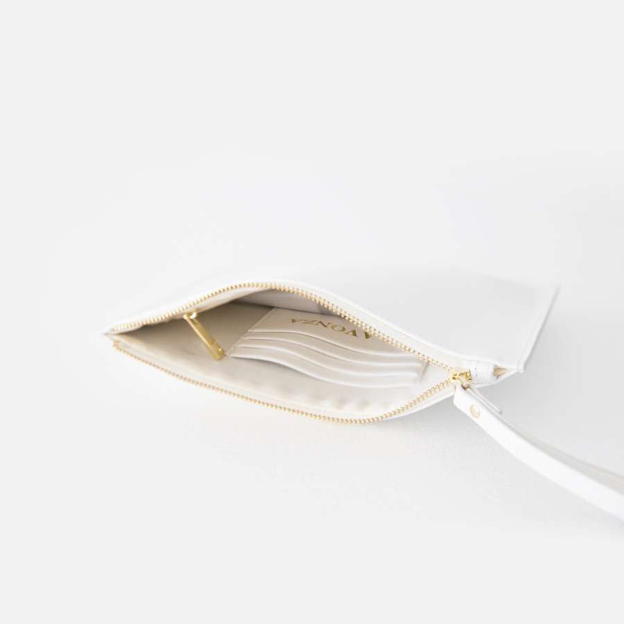 White Saffiano Leather Pouch with wrist strap