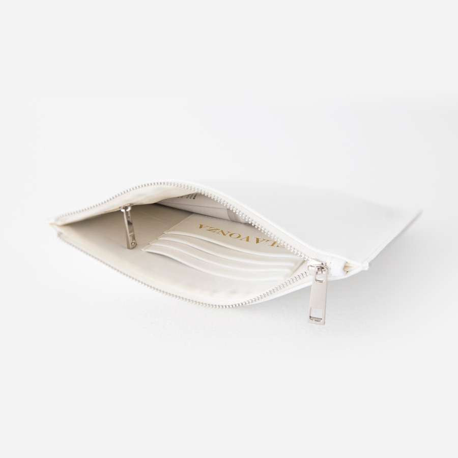 White Saffiano Leather Pouch