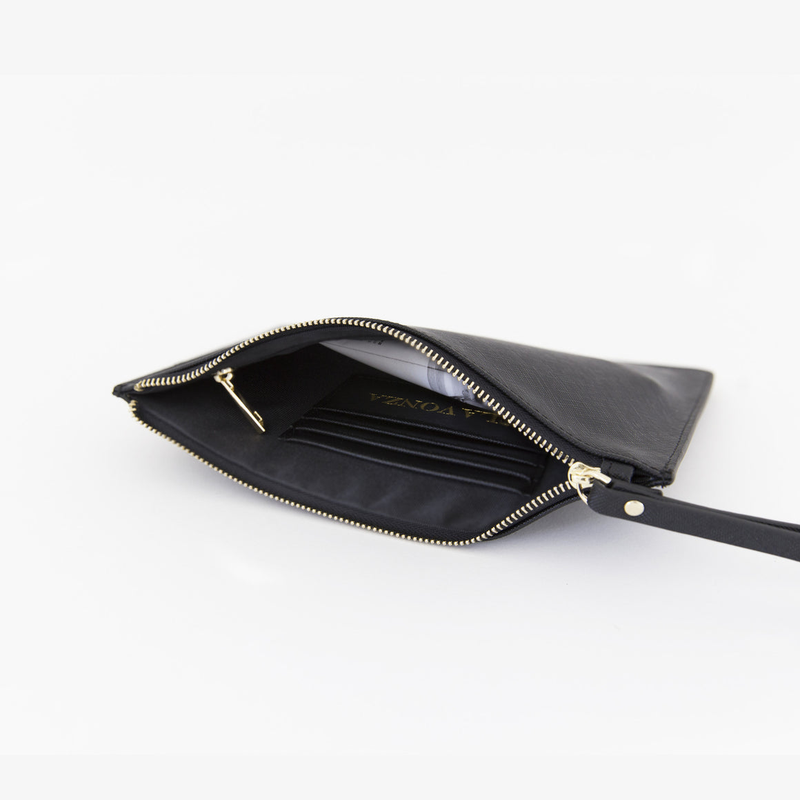 Black Saffiano Leather Pouch with wrist strap