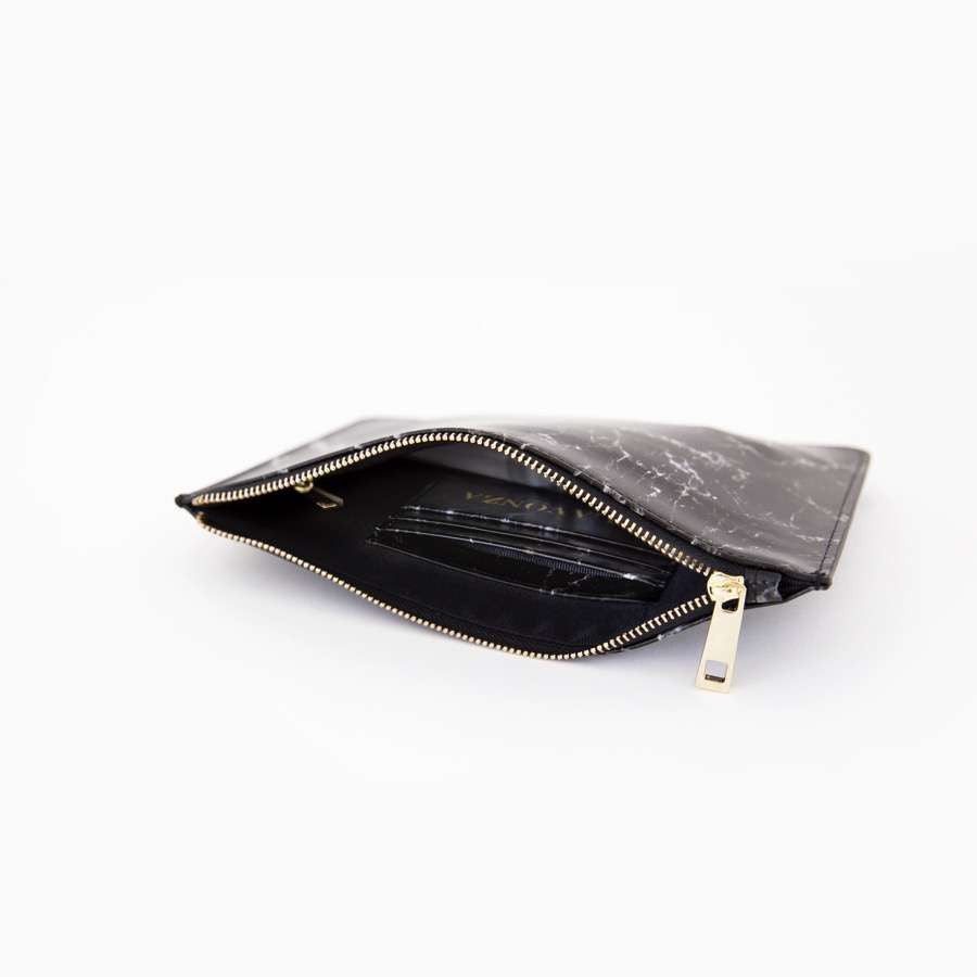 Black Smooth Marble Leather Pouch