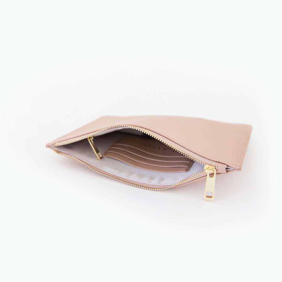 Taupe Blush Saffiano Leather Pouch