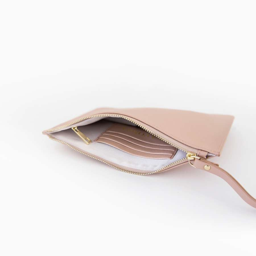 Taupe Blush Saffiano Leather Pouch with wrist strap