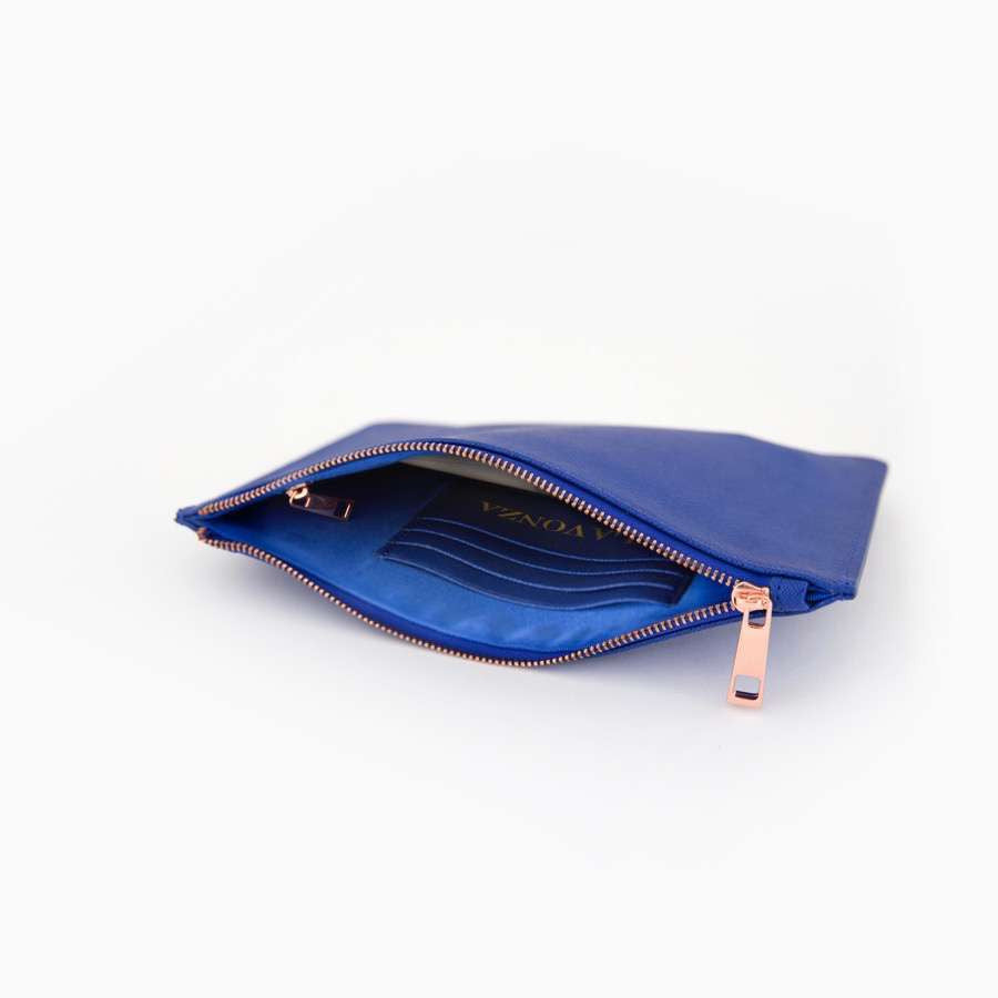 Navy Saffiano Leather Pouch