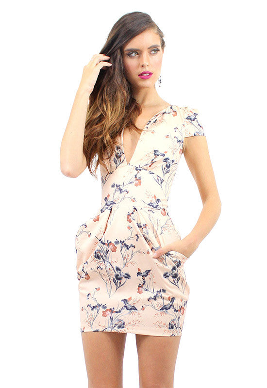 ELENA Dress Tulip Print Blush