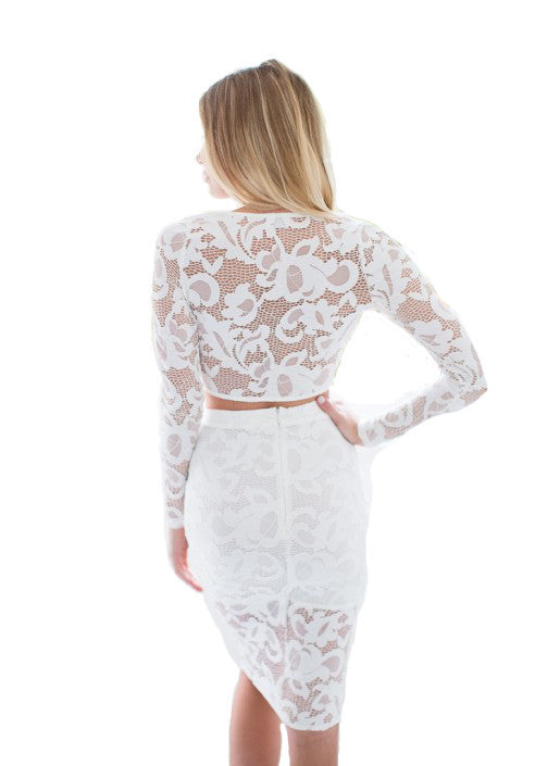 ERIN Lace Crossover Top & Midi Skirt White Set