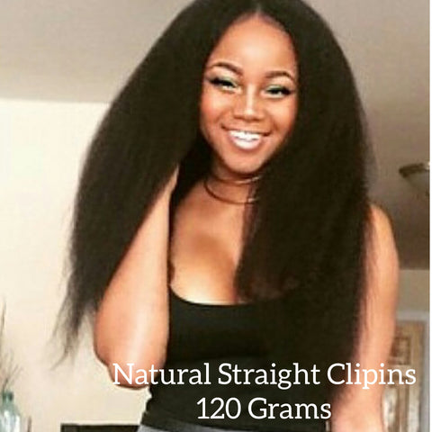 Natural (kinky) Straight Clip Ins (120 grams) - La Bella Milan Virgin Hair