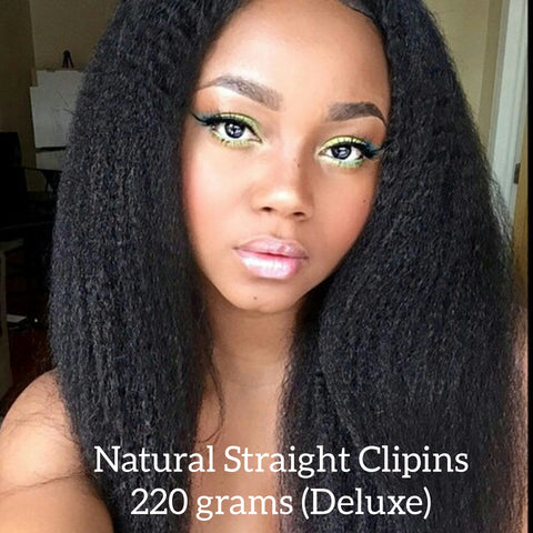 Natural (kinky) Straight Clipins (Deluxe 220 Grams) - La Bella Milan Virgin Hair
