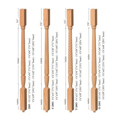 "Bunker Hill 1-3/4"" 2005 Structural Rise Square Top Baluster"