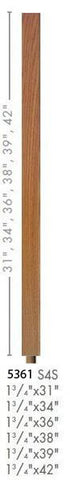 "Contemporary 1-3/4"" 5361 Plain Square Top Baluster w/Dowel"