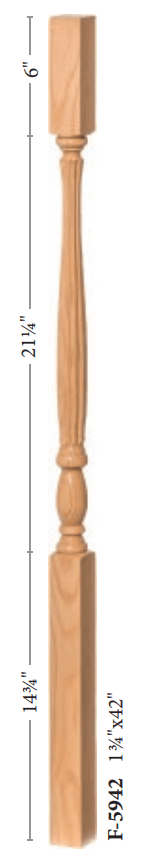 "Country 1-3/4"" 5934 Elegant Rise Square Top Baluster (5934, 5938, 5942)"