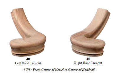 "Left Hand 4-7/8"" Turnout Fitting for 6210 Handrail (7240)"