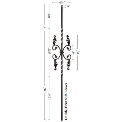 "Twist Series 1/2"" Square x 44""H / Double Twist with Leaves / Hollow Iron Baluster (9005)"