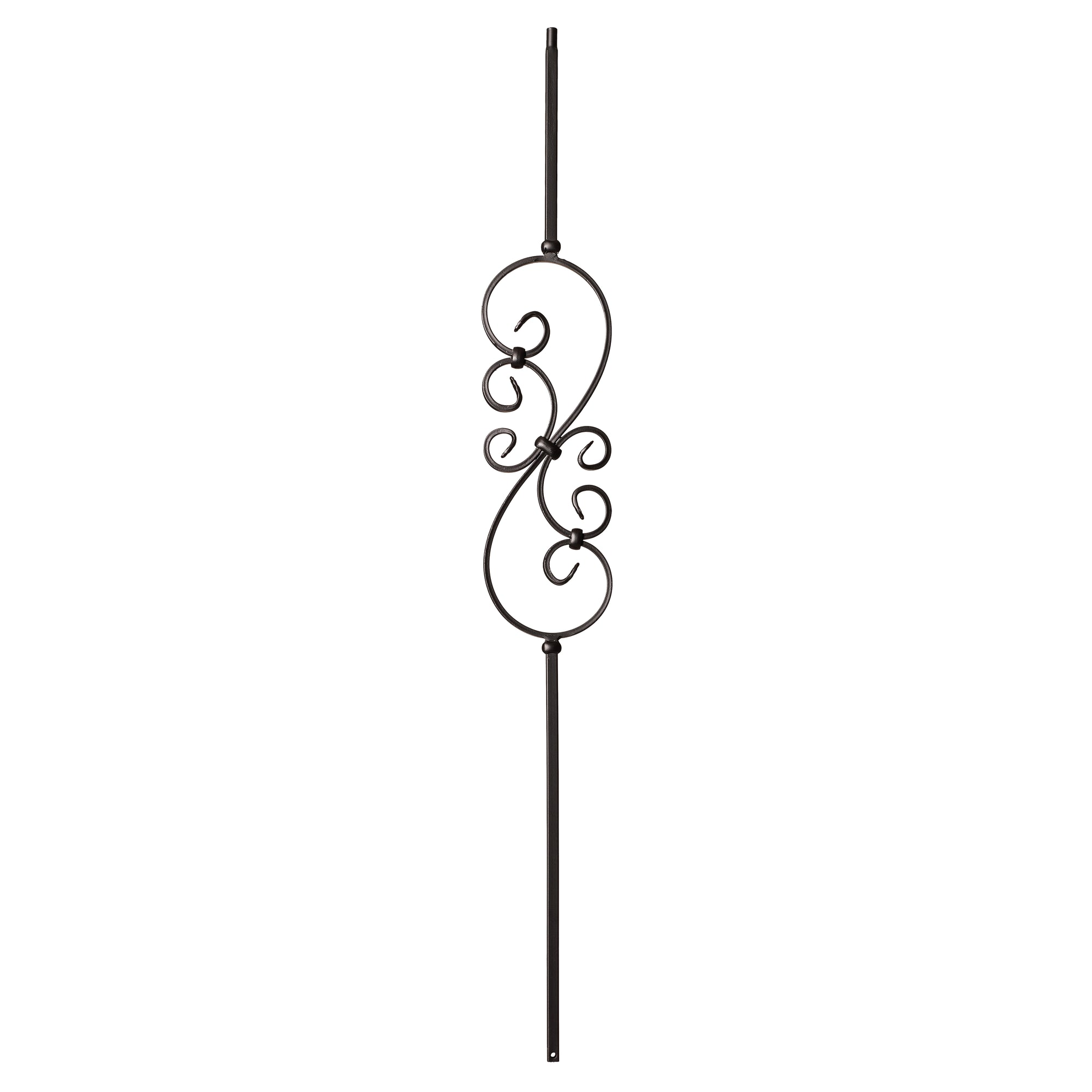 "Scroll Series 1/2"" Square x 44""H Small S Scroll (5-3/8"" x 16"") Hollow Iron Baluster (9008)"