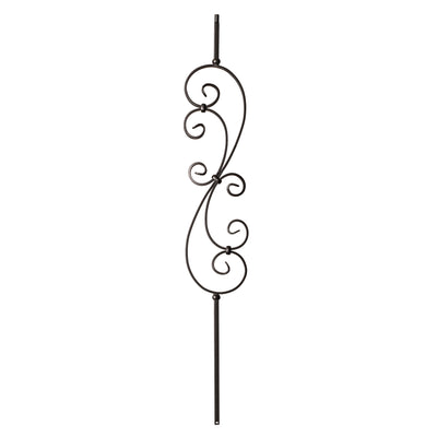 "Scroll Series 1/2"" Square x 44""H - 7"" x 24"" Scroll Hollow Iron Baluster (9009)"