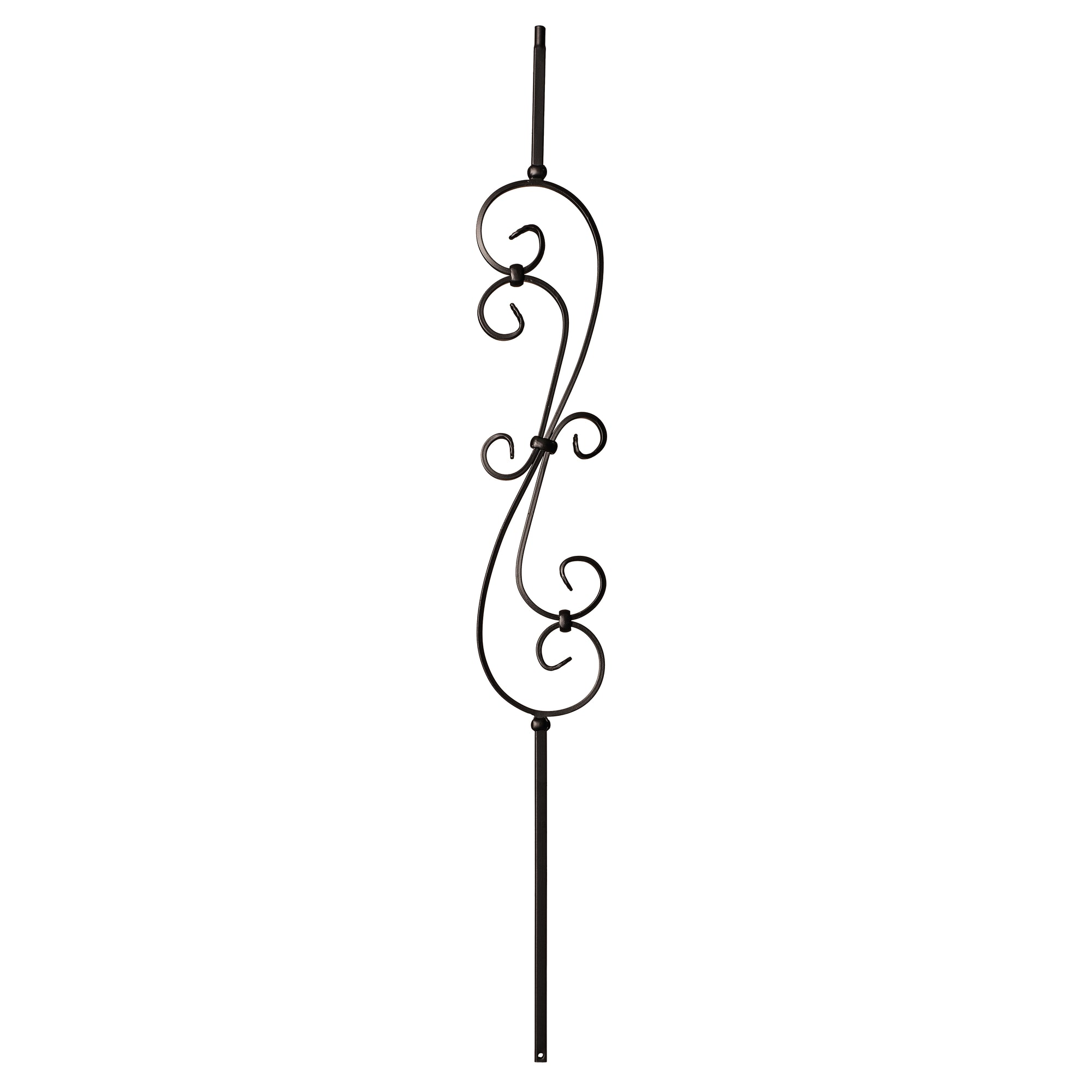 "Scroll Series 1/2"" Square x (5-3/8""W x 24""H) x 44""H Thin (1/4"") Scroll Hollow Iron Baluster (9081)"