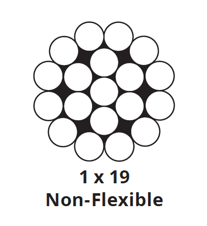 "Stainless Steel Exterior Cable - 3/16"" - 1""x19"""