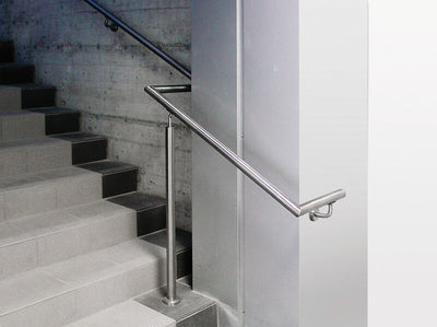 "Stainless Steel Handrail Support / 3-9/32"" x 3-13/32"" and 3/4"" dia. Includes Flange Canopy, and Mounting Plate for Tube 1 1/3"" to 1 2/3"" Dia. (E022-S)"