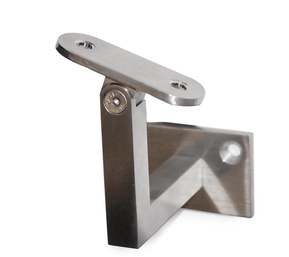 "Pivotable Stainless Steel Handrail Wall Mount Support for 1-14/25"" Square Tube - Flat (E036500)"