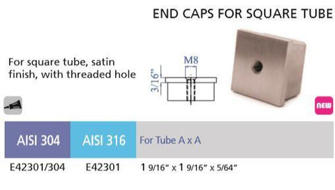 "E42301 Stainless Steel End Cap  With Threaded Hole  for Square 1 9/16"" Dia."