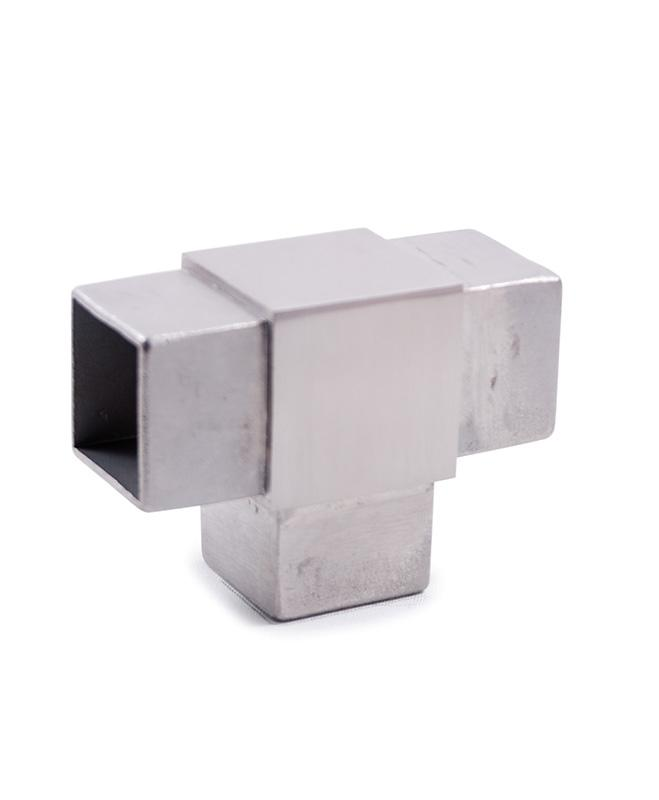 "Stainless Steel T Fitting for Square Tube 1-9/16"" (E4733)"
