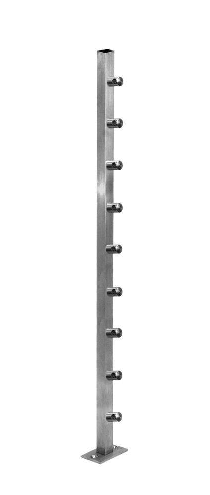 "Stainless Steel 1 9/16"" Square Newel Post w/ Installed Mounting Plate. & 1/2"" Round bar holders attached."